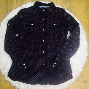 Tommy Hilfiger Polka Dot Button Down Size Medium